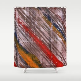 Bright diagonal painting lines Shower Curtain