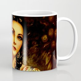 Jesus Helguera Painting of a Mexican Calendar Girl with Braids Coffee Mug