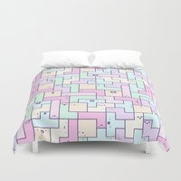 tetris Duvet Covers featuring Kawaii Tetris by KiraKiraDoodles