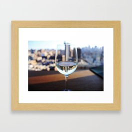New York City Skyline in Wine Glass Framed Art Print