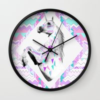 kris tate Wall Clocks featuring TWIN SHADOW by Vasare Nar and Kris Tate by Vasare Nar
