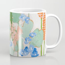 Multi Floral Painting on Pink and White Background Coffee Mug