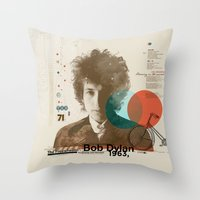 bob dylan Throw Pillows featuring Bob Dylan by Azlif