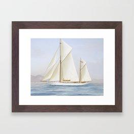 Vintage Racing Ketch Sailboat Illustration (1913) Framed Art Print