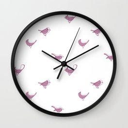 Bird Pattern- Raspberry Wall Clock
