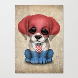 Cute Puppy Dog with flag of Croatia Canvas Print