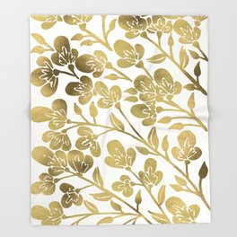 Cherry Blossoms – Gold Palette Throw Blanket