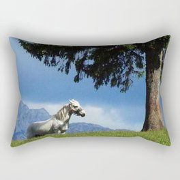 white horse in beautiful mountain view Rectangular Pillow