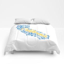 UCLA California Landmark State - Blue and Gold University Design Comforters