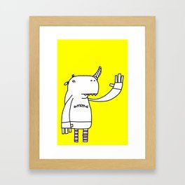 Uni monster bathed in glorious light. Framed Art Print