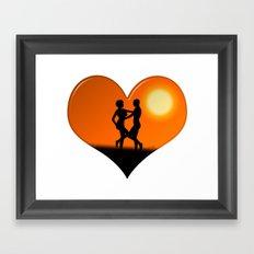 Sunset Dancing Couple Love Heart Framed Art Print