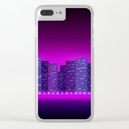 Night city on purple color Clear iPhone Case