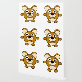 Drawn by hand a happy lovely bear for children and adults Wallpaper