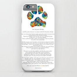 Rainbow Bridge Poem With Colorful Paw Print by Sharon Cummings iPhone Case
