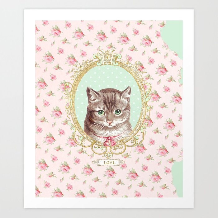 Tabby Cat love Art Print