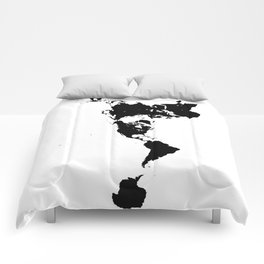 Dymaxion World Map (Fuller Projection Map) - Minimalist Black on White Comforters