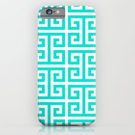 Tropical Turquoise and White Greek Key Pattern iPhone Case