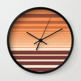 Ombre Horizontal Sienna and Orange Stripes Wall Clock