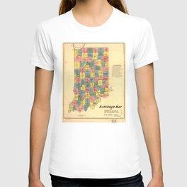 Vintage Indiana Railroad Map (1852) T-shirt