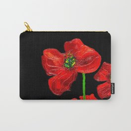 red flowers on black Carry-All Pouch