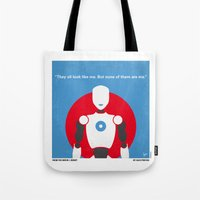 uncharted Tote Bags featuring No275 My I ROBOT minimal movie poster by Chungkong