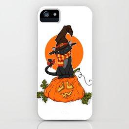 Witch Cat on Pumpkin Head iPhone Case