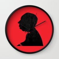 hitchcock Wall Clocks featuring Hitchcock by Vincent Caduc