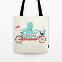 bike Tote Bags featuring My Red Bike by Jay Fleck