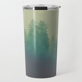 Misty Blue Pine Forest Tall Parallax Trees Silhouette Ombre Forest Foggy Landscape Travel Mug