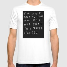 I AM NOT ANTI-SOCIAL White MEDIUM Mens Fitted Tee