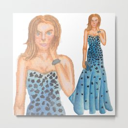 Karlie in Strapless Blue Mermaid Gown Metal Print