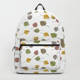 Colorado Aspen Tree Leaves Hand-painted Watercolors in Golden Autumn Shades on Clear Backpack