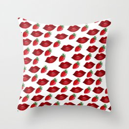 Hand painted red green strawberries lips pattern Throw Pillow