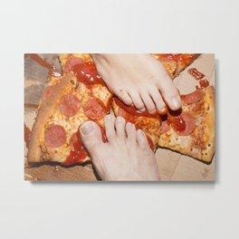 Pizza con hongos Metal Print