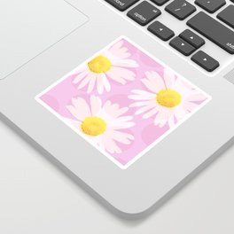 Flowers and dots on a pink background - lovely summery - #daisy #society6 #buyart Sticker
