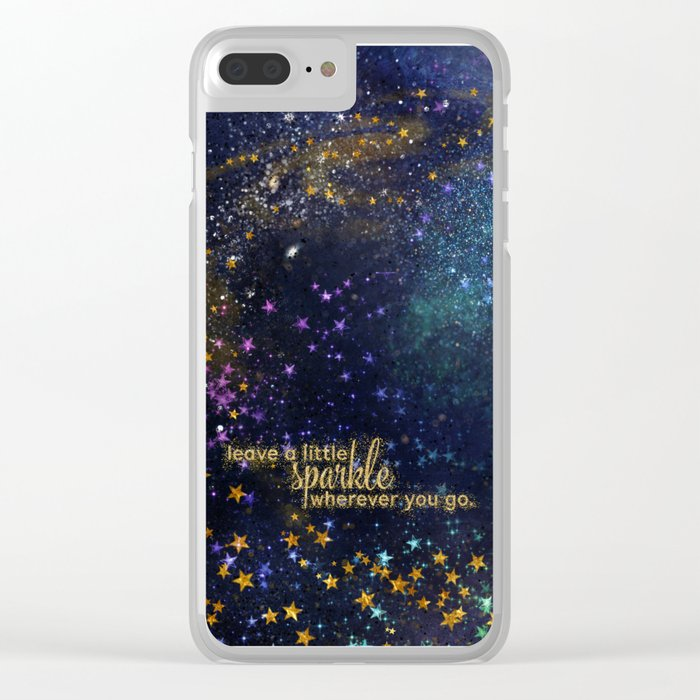 Leave a little sparkle wherever you go - gold glitter Typography on dark space background Clear iPhone Case