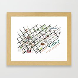 Downtown Billings Brewery Map Framed Art Print