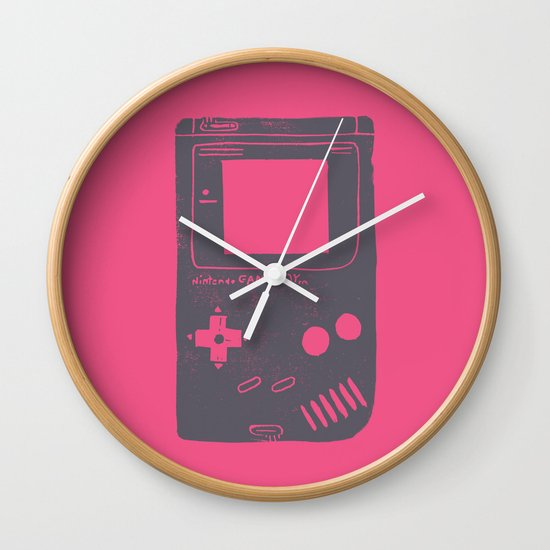 Game Boy On Pink Wall Clock By Bianca Green Society6