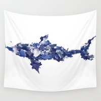shark Wall Tapestries featuring Shark by Mikayla Belle