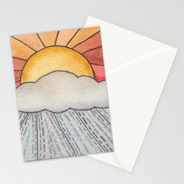 Solstice Sunshower Watercolor Painting Stationery Cards