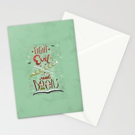 Fight Evil. Read Books. Stationery Cards