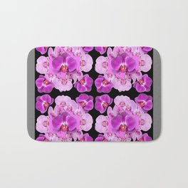Black-Grey Color Abstracted Modern Purple Moth Orchids Bath Mat