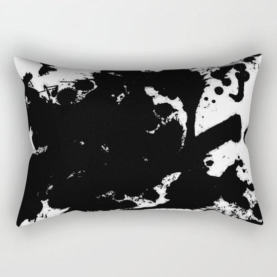 Black and white splat - Abstract, black paint splatter painting Rectangular Pillow