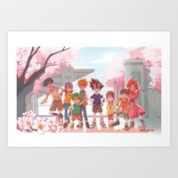 digimon Art Prints featuring DIGIMON ADVENTURE by luttu