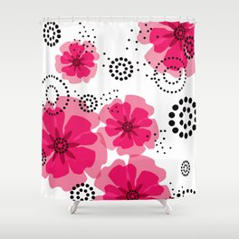 PEPPER POPPIES | fuschia Shower Curtain