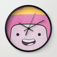 princess bubblegum Wall Clocks featuring Princess Bubblegum by Some_Designs