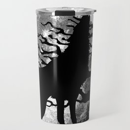 WOLF AND MOON IN BLACK AND WHITE Travel Mug