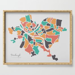 Pittsburgh Pennsylvania Map with neighborhoods and modern round shapes Serving Tray