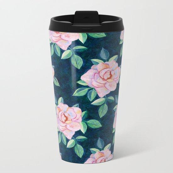 Simple Pink Rose Oil Painting Pattern Metal Travel Mug