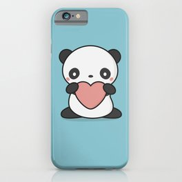 Kawaii Cute Panda With Heart iPhone Case